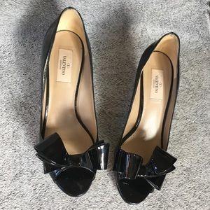 Valentino Authentic Bow Black Kitten Heel